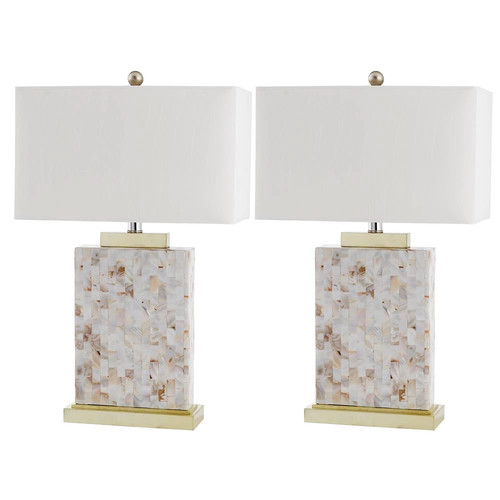 Safavieh Tory Shell Table Lamp with CFL Bulb, with Off-White Shade, Set of 2