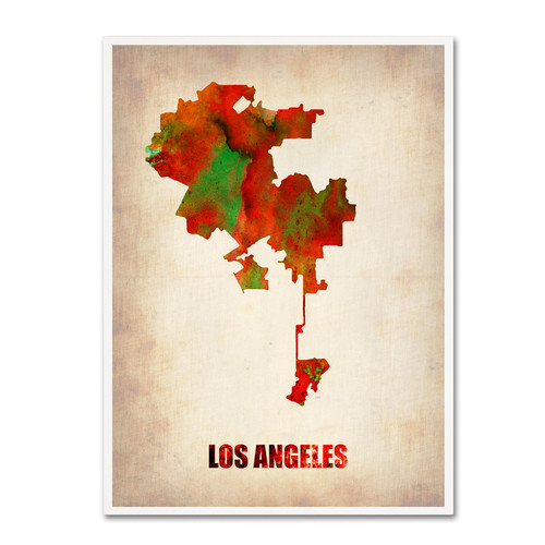 Trademark Global Naxart 'Los Angeles Watercolor Map' Canvas Art [Overall Dimensions : 14x19]