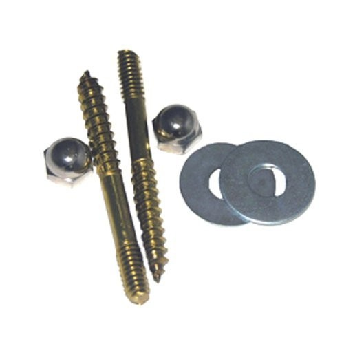 LASCO 04-3601 Toilet Screws with Solid Brass 1/4-Inch by 2-1/2-Inch with Nuts and Washers