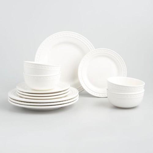 White Nantucket Dinnerware 12 Piece Set