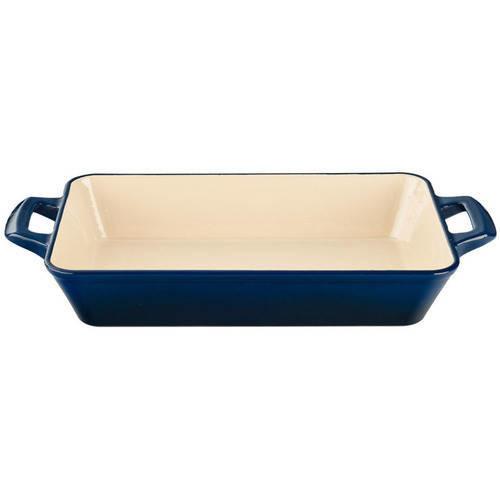La Cuisine Medium Deep Cast Iron Roasting Pan with Enamel Finish in Blue