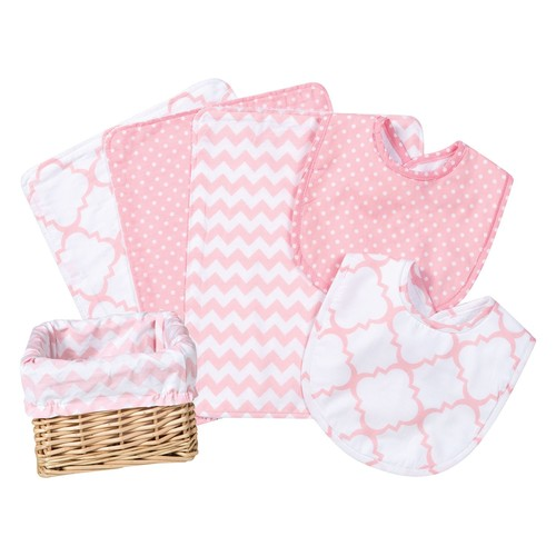 Trend Lab 7 Piece Pink Sky Feeding Basket Gift Set
