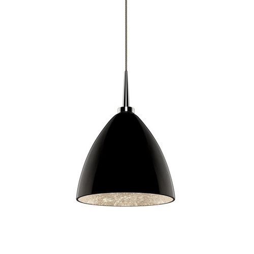 Bruck Lighting Cleo LED 4-inch Canopy Chrome Pendant with Black Outer/Silver Inner Glass Shade