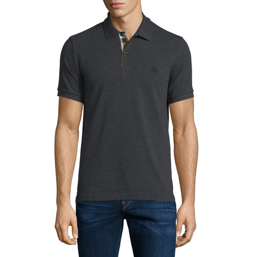 BURBERRY BRIT Short-Sleeve Oxford Polo Shirt, Dark Charcoal Melange