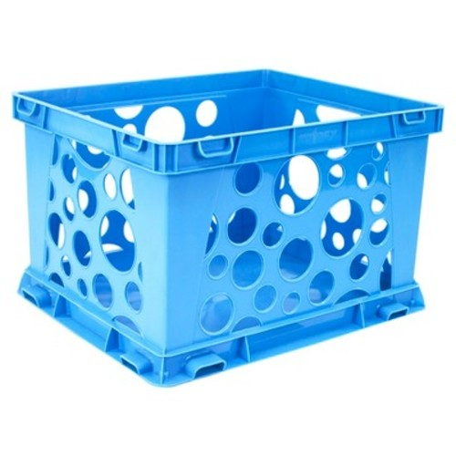Storex Mini Stackable Storage Crate 3ct - Neon Blue
