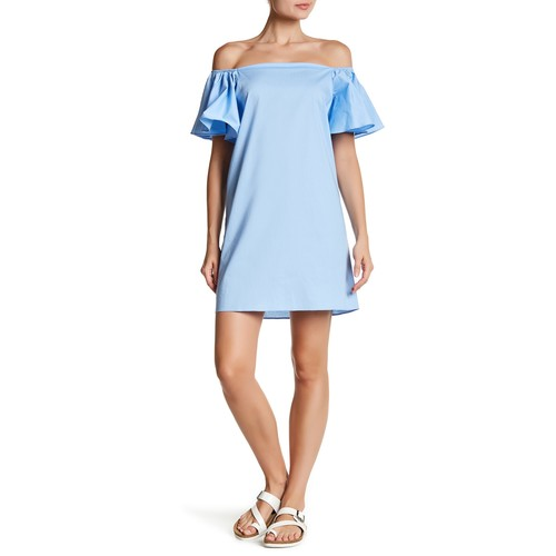 Ruffle Sleeve Off-the-Shoulder Dress