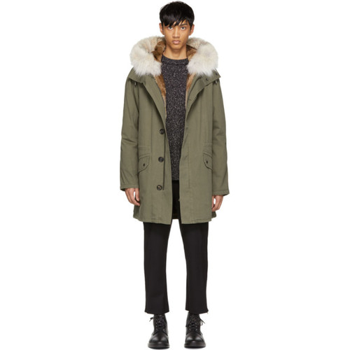 YVES SALOMON Green Long Fur-Lined Military Coat