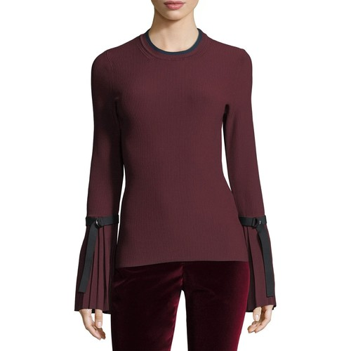3.1 PHILLIP LIM Long-Sleeve Pleated Pullover Sweater