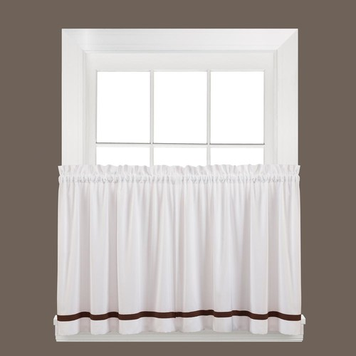 Saturday Knight Semi-Opaque Kate 36 in. L Polyester Tier Curtain in Clove (2-Pack)
