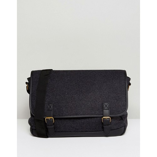 ASOS Satchel In Charcoal With Faux Leather Trims