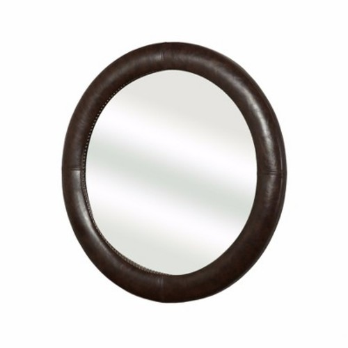 Jones Leather Round Wall Mirror - Brown - Abbyson