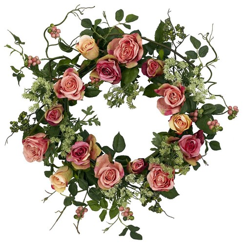 nearly natural 20-in. Silk Rose Wreath