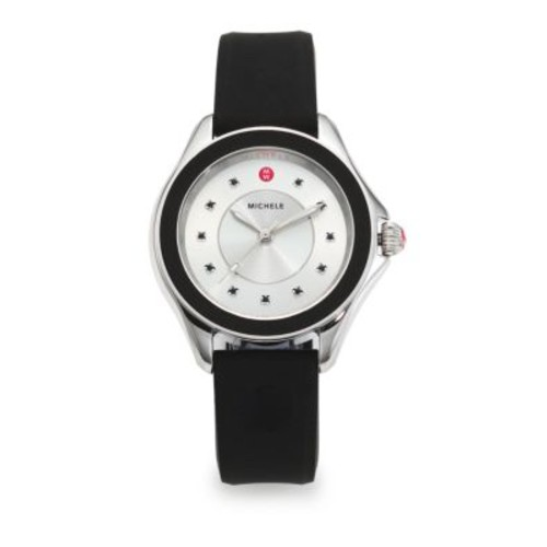 Cape Black Topaz, Stainless Steel & Silicone Strap Watch/Black