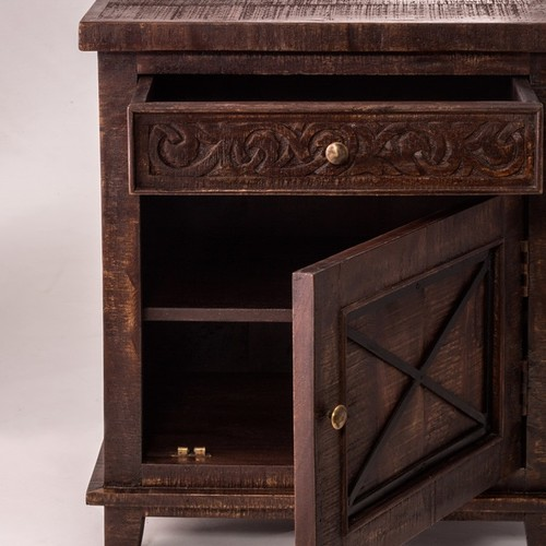 Hillsdale Furniture Pavia Single Drawer Single Door 'X' Style Walnut Finish Cabinet