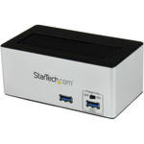 USB 3.0 SATA III HDD Docking Station with Fast Charge USB Hub (Black)