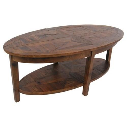 Oval Coffee Table Hardwood Natural - Alaterre Furniture