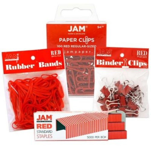 JAM Paper Desk Supply Assortment Pack, Red, 1 Rubber Bands 1 Binder Clips 1 Colored Staples 1 Regular Paperclips (3345REASRTD)