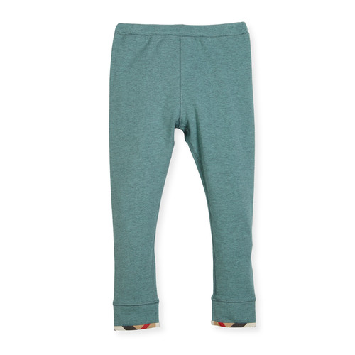 BURBERRY Penny Stretch Jersey Leggings, Green, Size 4