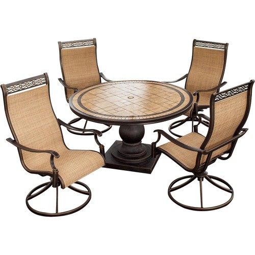 Hanover Monaco 5-Piece Aluminum Round Outdoor Dining Set with Tile-Top Table and Contoured Swivel Chairs
