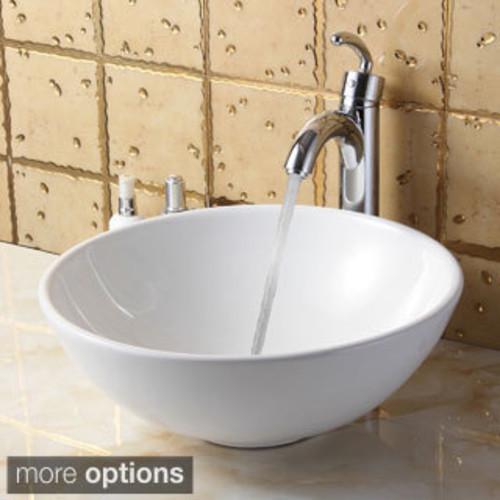 VIGO Elizabeth Phoenix Stone Vessel Bathroom Sink Set With Duris Vessel Faucet In Matte Black