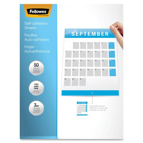 Fellowes Self Adhesive Laminating Sheets, 3mil, 50 pack