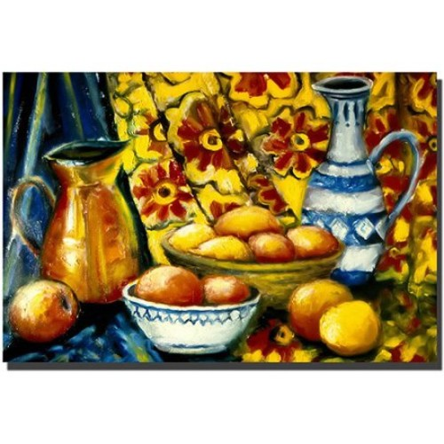 Still Life with Oranges by Michelle Calkins, 14x19-Inch Canvas Wall Art [14x19-Inch]