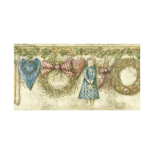 Brewster Home Fashions Borders by Chesapeake Mazy Hearts Dolls Portrait 15' x 10.25'' Scenic 3D Embossed Border Wallpaper