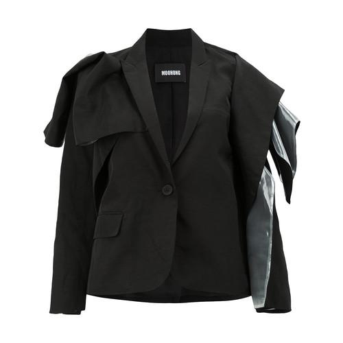 vinyl insert ruffled blazer