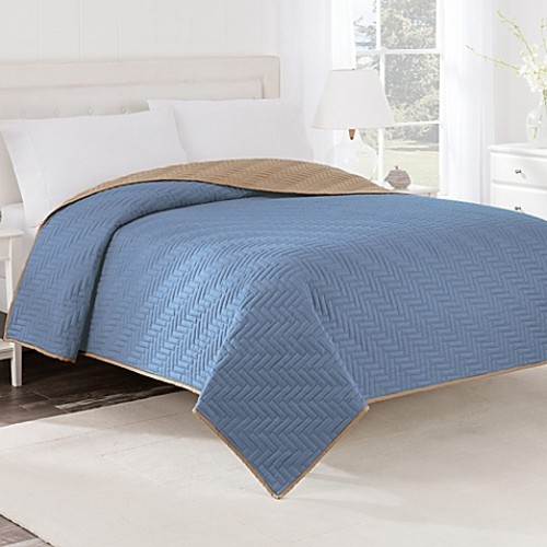 Martex Two-Tone Twin Coverlet in Sky Blue/Khaki