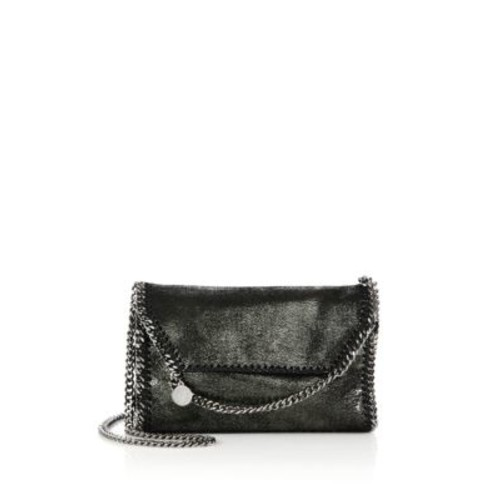 STELLA MCCARTNEY Falabella Metallic Faux Suede Chain Clutch