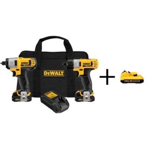 DEWALT 12-Volt MAX Lithium-Ion Cordless Screwdriver/Impact Combo Kit (2-Tool) with Batteries, Charger and Bonus Battery 2Ah