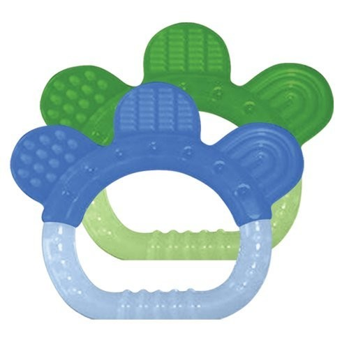 green sprouts 2 Pack Sili Paw Teether, Boy [blue set, green sprouts Silicone Teether (2pk)]
