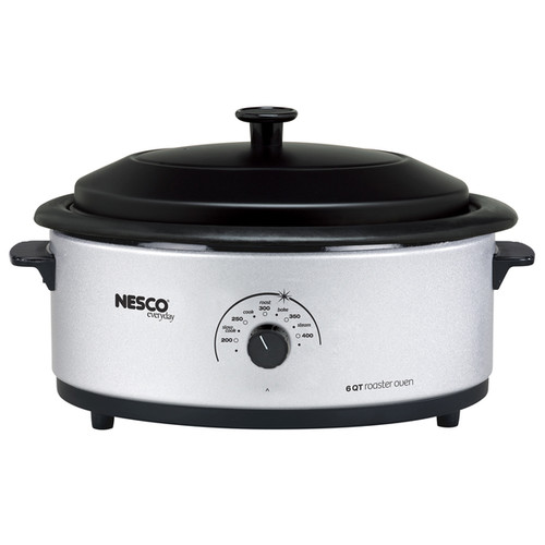 Nesco Silver 6-quart Roaster Oven with Porcelain Lid