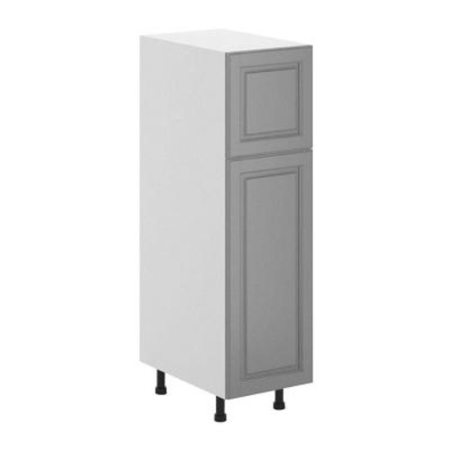 Fabritec Buckingham Ready to Assemble 15 x 49 x 24.5 in. Pantry/Utility Cabinet in White Melamine and Door in Gray