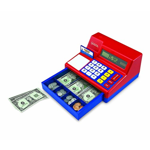 Learning Resources Pretend & Play Calculator Cash Register, 73 Pieces [Retail Packaging]