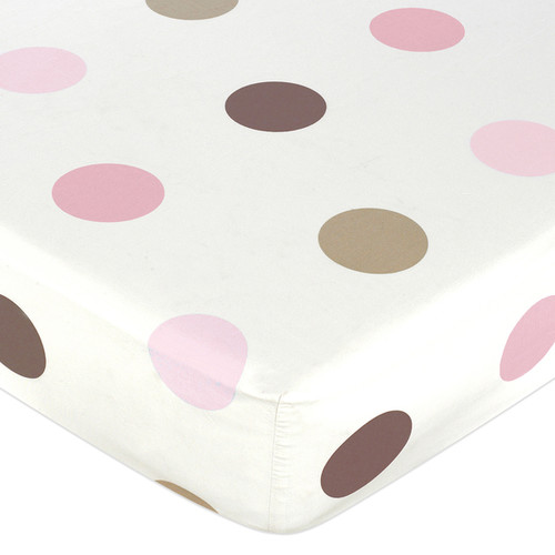 Sweet JoJo Designs Pink and Brown Mod Dots Fitted Crib Sheet