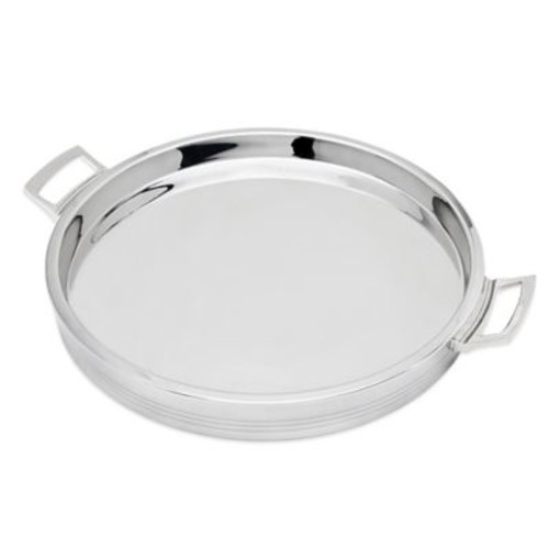 Top Shelf Silver Stainless Steel Double Wall Round Tray
