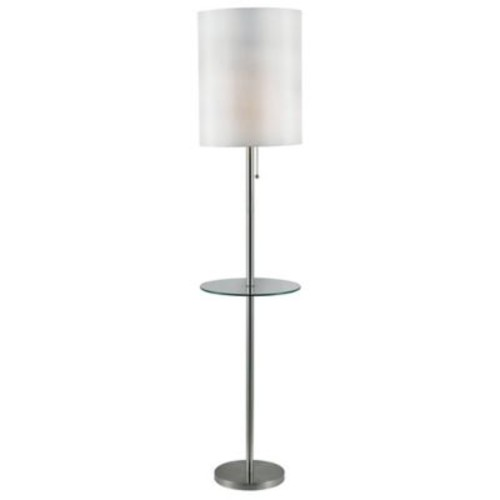 Kenroy Home Exhibit Floor Lamp with Table in Brushed Steel
