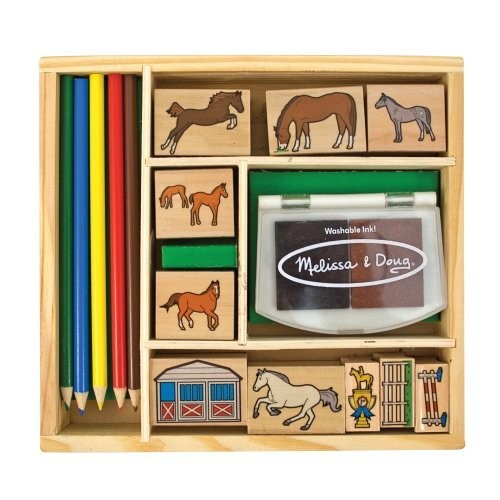 Melissa & Doug Wooden Stamp Activity Set: Horse Stable - 10 Stamps, 5 Colored Pencils, 2-Color Stamp Pad [Standard Version]