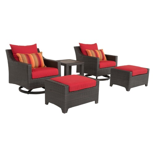 RST Brands Deco 5-Piece All-Weather Wicker Patio Deluxe Motion Club Chair and Ottoman Conversation Set with Sunset Red Cushions
