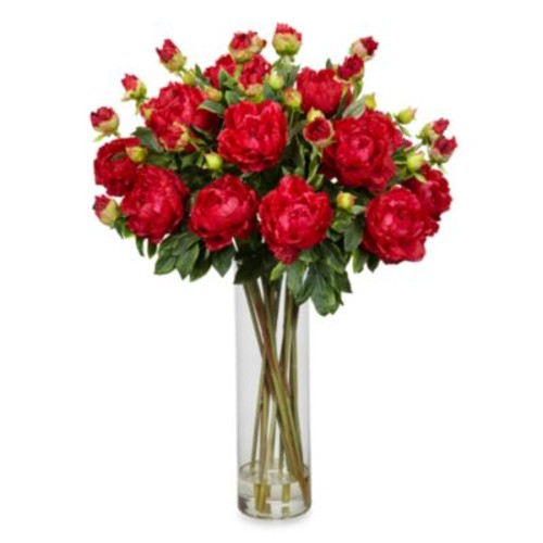 Nearly Natural Silk Giant Peony Arrangement - Red