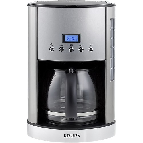 KRUPS KM730D Breakfast Set Coffee Maker Machine with Brushed and Chrome Stainless Steel Housing, 12-Cup, Silver