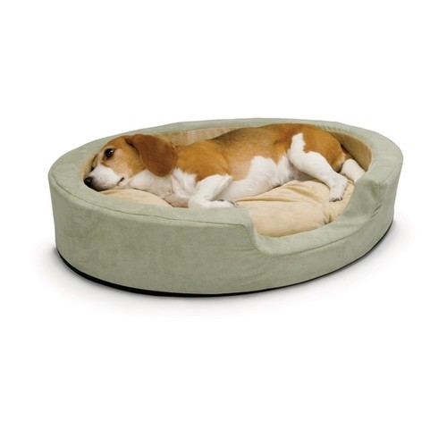 K&H Pet Products Thermo Snuggly Sleeper Oval Pet Bed Medium Sage 26