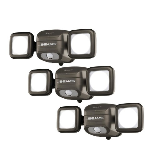 Mr Beams NetBright Networked 140 Bronze Outdoor Wireless Motion Sensing Integrated LED Flood Light (3-Pack)