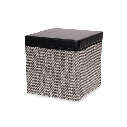 Household Essentials Square Storage Ottoman with Padded Seat, Black chevron
