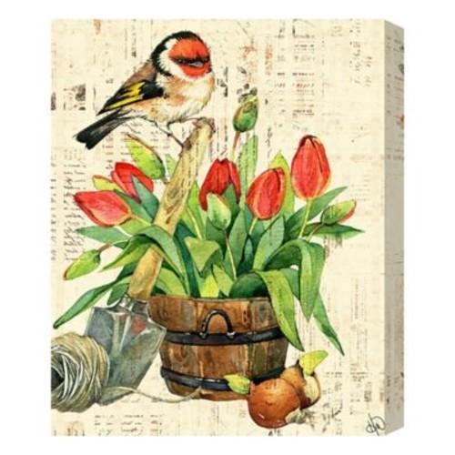 Garden Bird & Red Tulips 16-Inch x 20-Inch Metal Wall Art