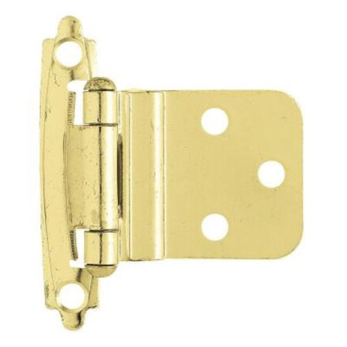 Liberty 3/8 in. Polished Brass Self-Closing Inset Hinge (1-Pair)