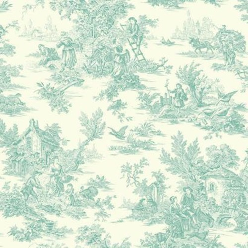 Sample Campagne Toile Wallpaper in Aqua by Ashford House for York Wallcoverings