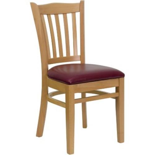 Flash Furniture HERCULES Series Natural Wood Vertical Slat Back Restaurant Chair, Burgundy Vinyl Seat, 16/Pack