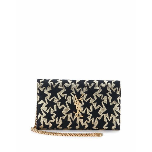 SAINT LAURENT Monogram Stars Flap Wallet-On-Chain, Gold/Black